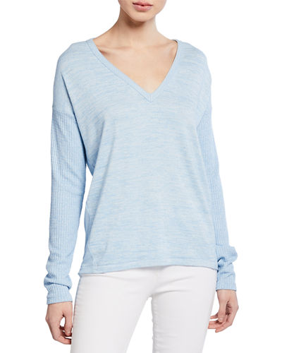 Clare Torqued V-Neck Long-Sleeve Top