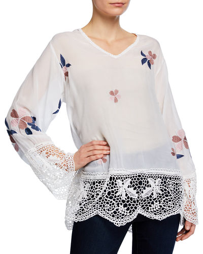Plus Size Dhalia V-Neck Georgette Top with Lace & Floral Embroidery