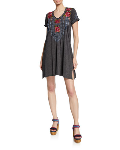 Davis Scoop-Neck Short-Sleeve Jersey Dress w/ Embroidery