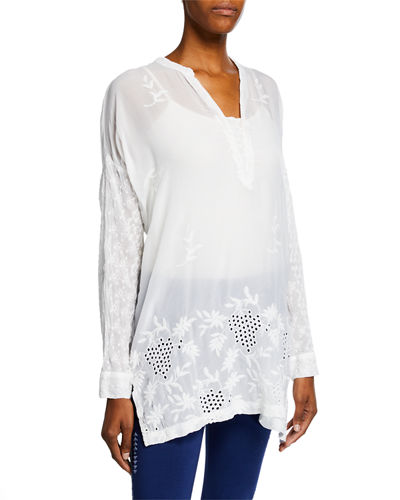Plus Size Ellie Long-Sleeve Georgette Eyelet & Embroidered Top