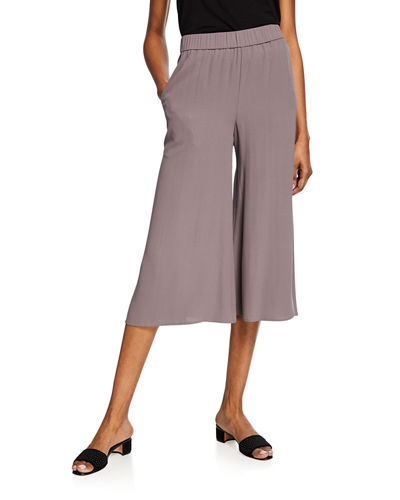 Plus Size Wide-Leg Cropped Silk Crepe Pull-On Pants