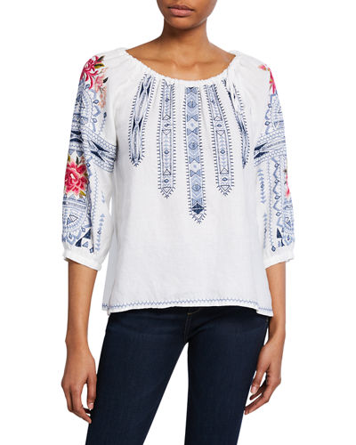 Davis Scoop-Neck 3/4-Sleeve Linen Top w/ Tie-Detail