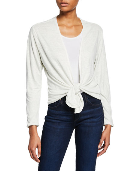 Majestic Filatures Open-Front Long-Sleeve Two-Tone Linen Cardigan