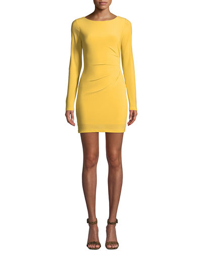 Ellsworth Long-Sleeve Scooped-Back Mini Dress