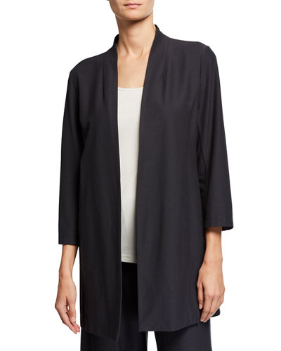 Open-Front 3/4-Sleeve Lightweight Stretch Crepe Jacket