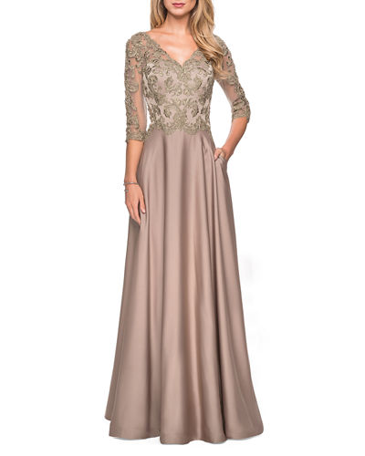 Satin A-Line Lace-Top Gown