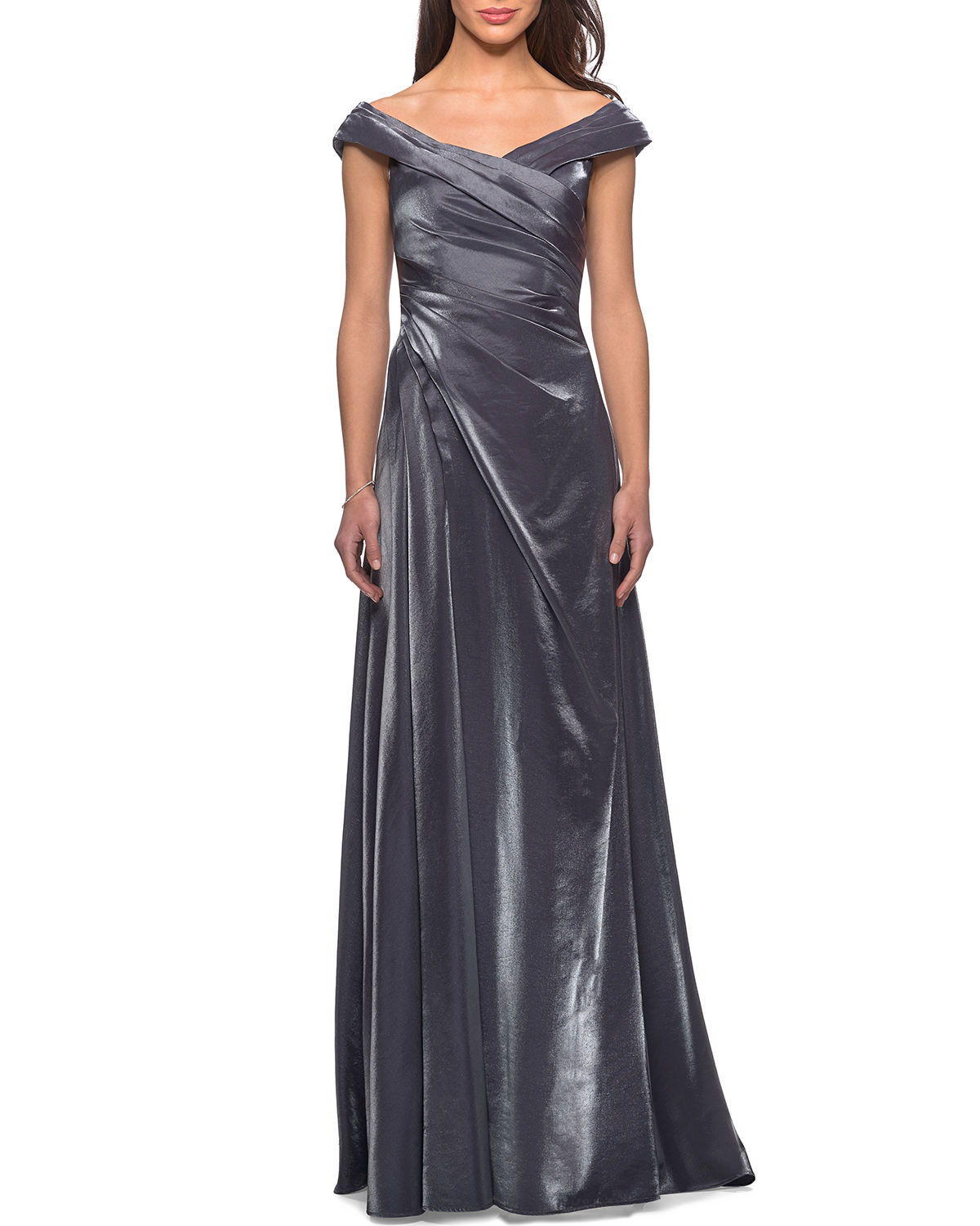 V-Neck Metallic Satin Ruched Gown