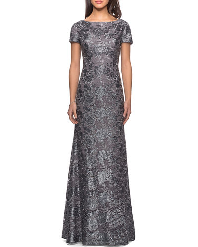 Short-Sleeve Metallic Lace Gown