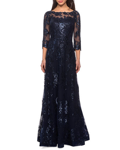 Metallic Lace Mesh-Top Gown
