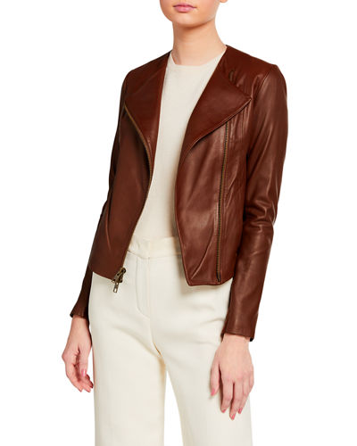 Rib Panel Leather Moto Jacket