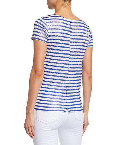 Majestic Paris for Neiman Marcus Linen Metallic Striped Short-Sleeve Button-Back Tee