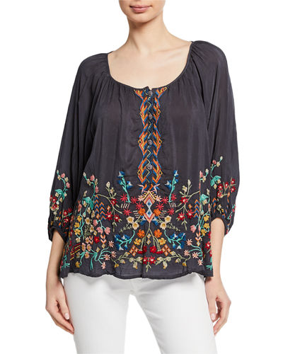 Plus Size Sarah Embroidered Scoop-Neck 3/4-Sleeve Georgette Top