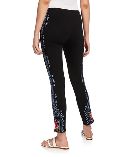 Johnny Was Plus Size Davis Leggings with Floral Embroidery