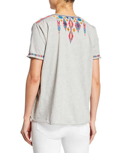 Johnny Was Plus Size Etienne Embroidered Scoop-Neck Short-Sleeve Jersey T-Shirt