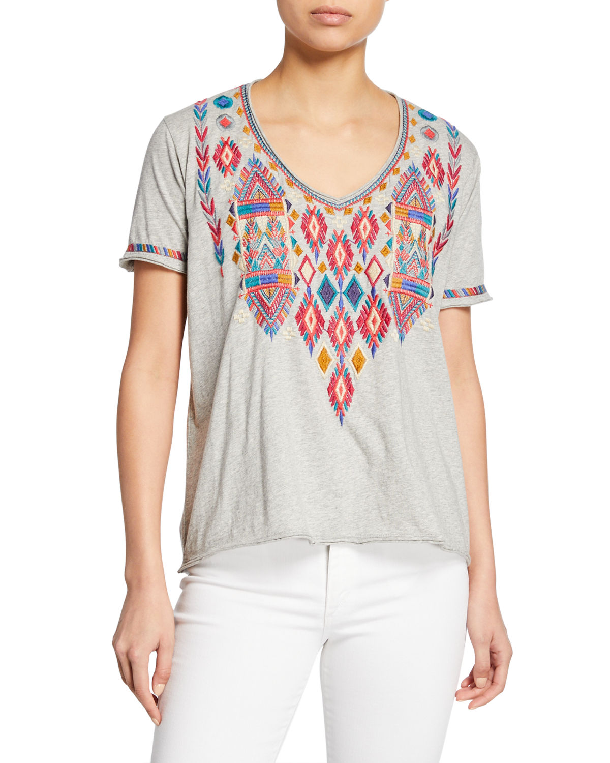 f486149bfbeefe Johnny Was Plus Size Etienne Embroidered Scoop-Neck Short-Sleeve Jersey T- Shirt