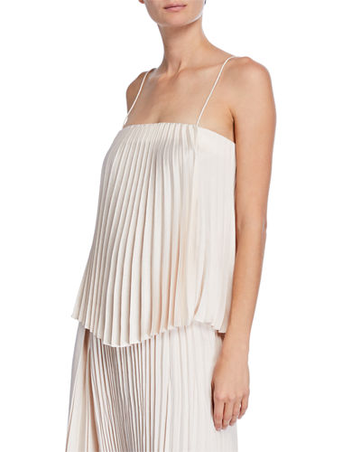 Square-Neck Pleated Camisole