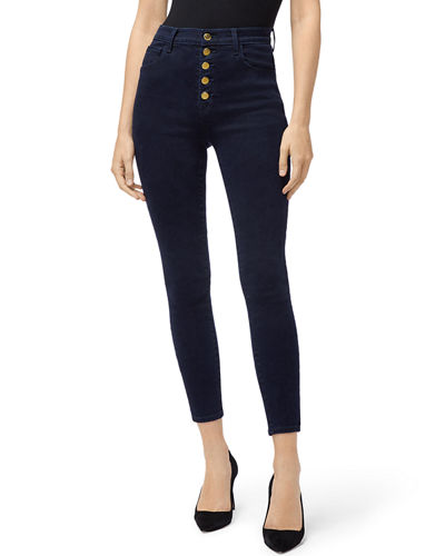 Lillie High-Rise Cropped Skinny Jeans w/ Button Fly