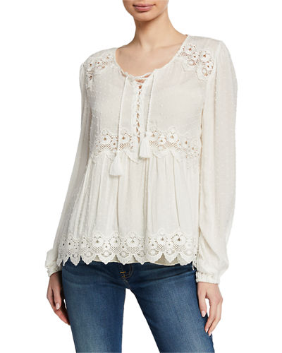 Johnny Was Mikala Raised Dot Lace-Up Front Long-Sleeve Blouse