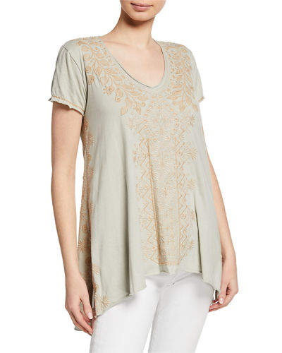 Tasya Embroidered Short-Sleeve Drape Cotton Top