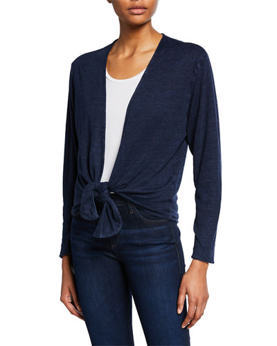 Open-Front Long-Sleeve Two-Tone Linen Cardigan
