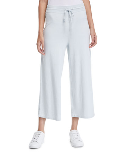 Cropped Wide-Leg Cotton Sweatpants