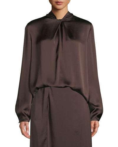 Knotted High-Neck Log-Sleeve Silk Blouse