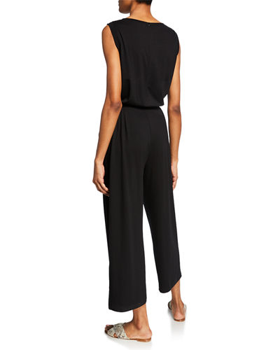 Eileen Fisher Sleeveless Drawstring Crop Jumpsuit
