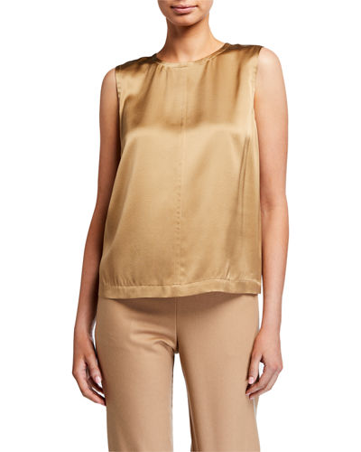 Heavy Silk Charmeuse Crewneck Tank