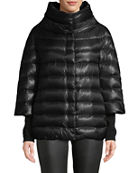 Herno 3/4 Sleeve Cocoon Quilted Puffer Coat