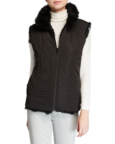 Adrienne Landau Reversible Rabbit Fur Vest