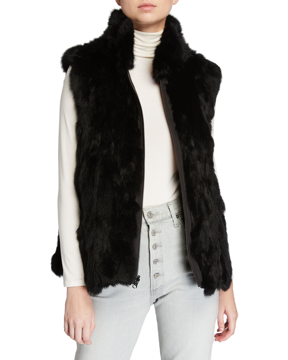 Adrienne Landau Tops REVERSIBLE RABBIT FUR VEST