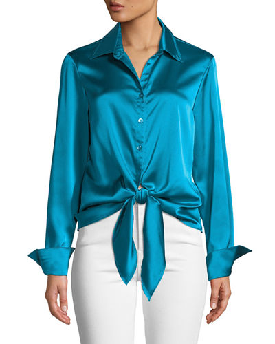 Lindy Button-Front Long-Sleeve Satin Blouse w/ Tie-Front