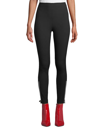Simone Skinny High-Rise Pants with Zipper Details