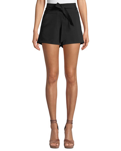 Veronica Beard Borneo Belted High-Rise Shorts