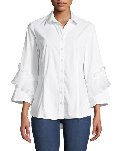 Vera Crystal Cuts Button-Front Ruffle-Sleeve Blouse