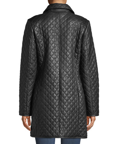 Neiman Marcus Leather Collection Plus Size Quilted Lamb Leather Trench Coat