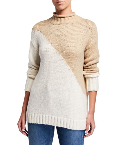 The Summit Diagonal Colorblock Mock Neck Sweater