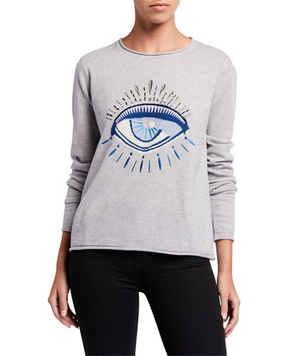 Lisa Todd Eye On You Cashmere Evil Eye Intarsia Sweater