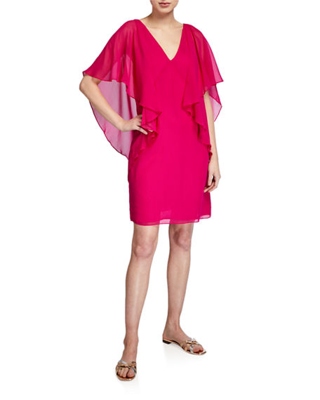 Trina Turk Buena Vista V-Neck Draped Flutter-Sleeve Dress