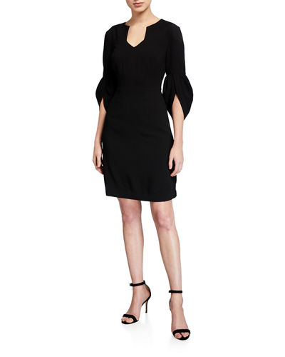 Covelo V-Neck 3/4-Sleeve Sheath Dress