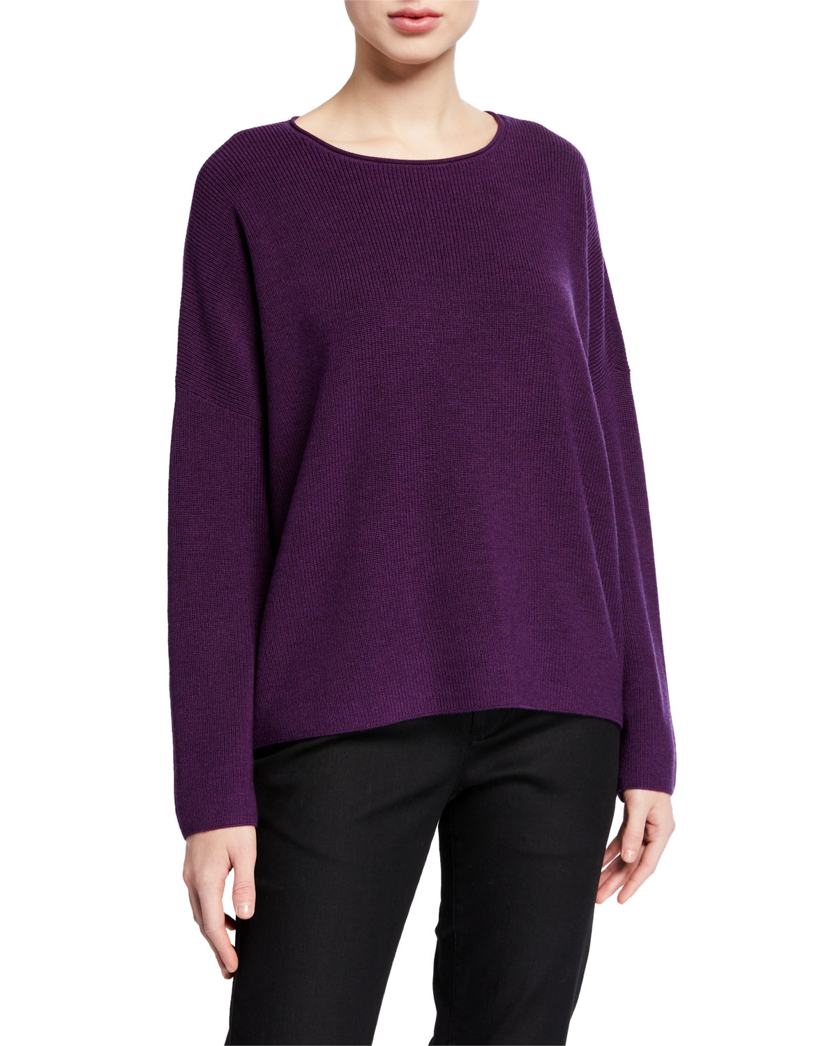 Eileen Fisher Wools PLUS SIZE BOXY FINE MERINO WOOL RIBBED SWEATER