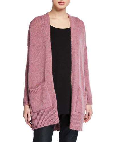 Petite Air Wool/Mohair Shawl-Collar Cardigan