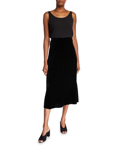 Eileen Fisher Velvet A-Line Side-Slit Skirt