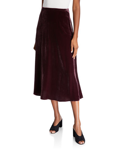 Velvet A-Line Side-Slit Skirt