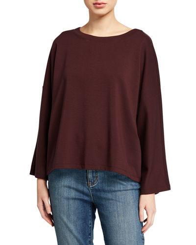 Plus Size Ponte Boat-Neck Long-Sleeve Top