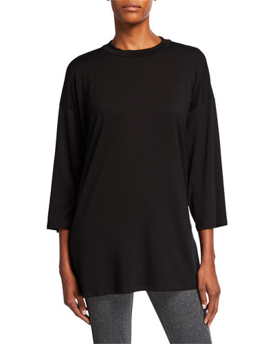 Plus Size Crewneck Jersey 3/4-Sleeve Top