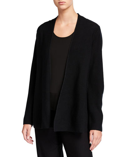 Plus Size Link Shaped Open-Front Merino Wool Cardigan