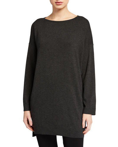 Plus Size Bateau-Neck Bracelet-Sleeve Cozy Tunic