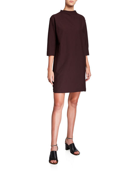 Eileen Fisher Funnel-Neck 3/4-Sleeve Washable Crepe Dress