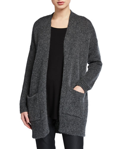 Air Wool/Mohair Shawl-Collar Cardigan